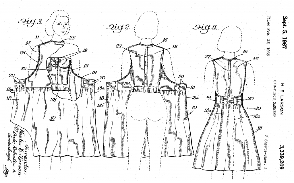 A black line drawing on a white background of a woman wearing a dress from three angles with the dress opening at the back.