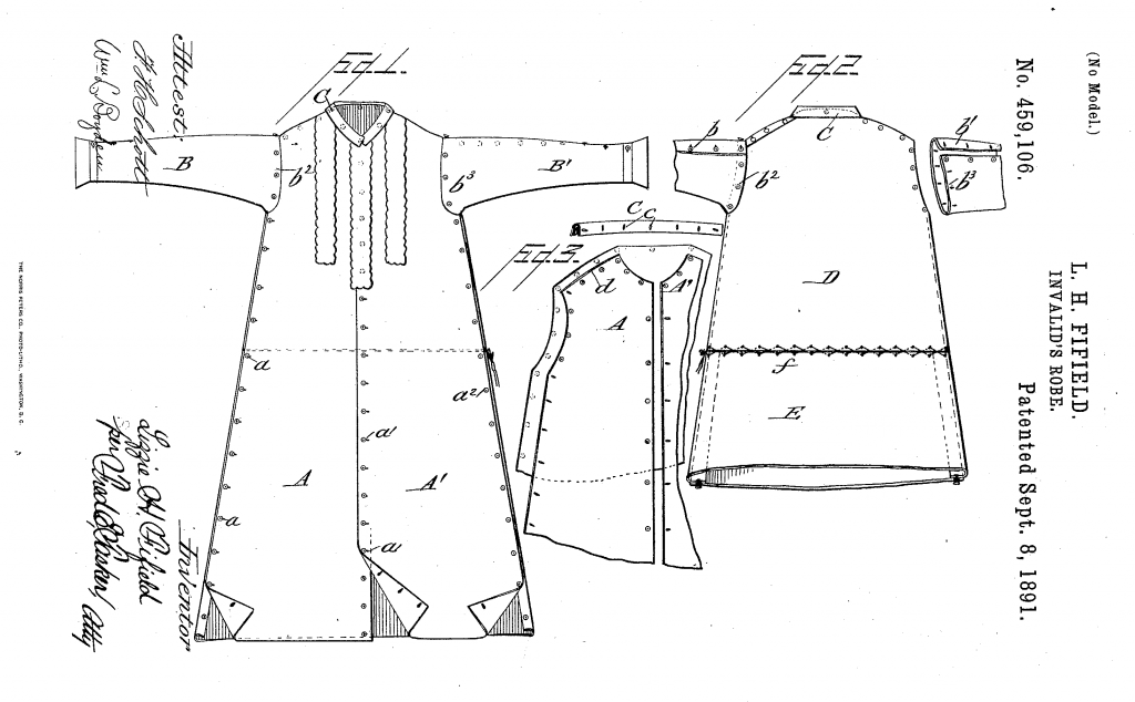A black line drawing on a white background of a shirt dress with buttons down the seams, front and back views.