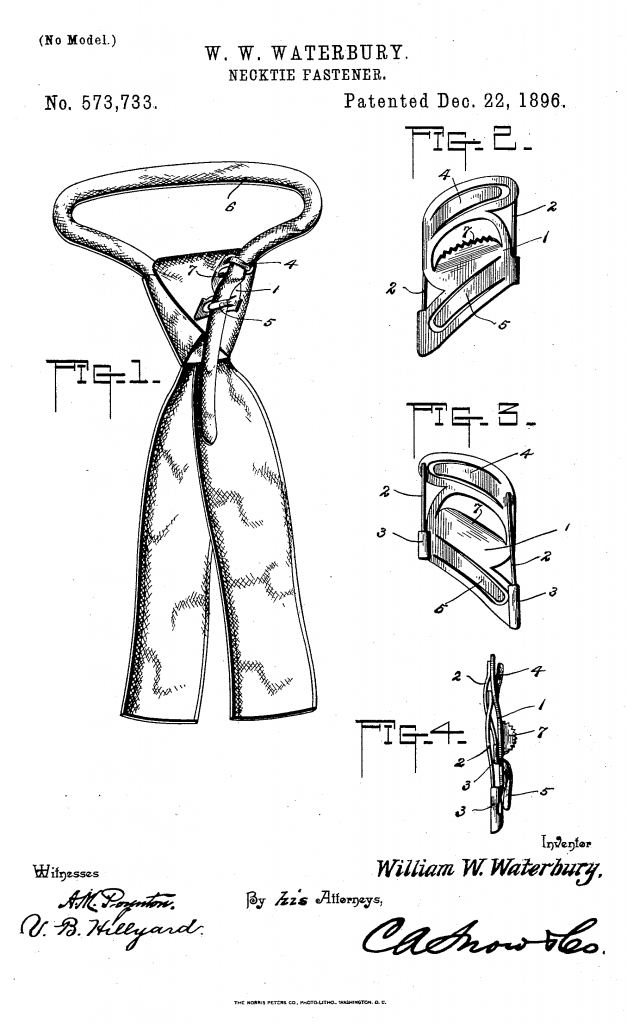 A black line drawing on a white background of a tie with a fastening hidden on the back.