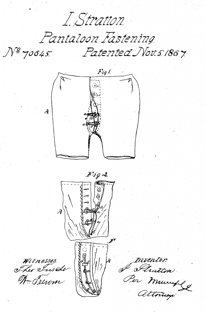 A black line drawing on a white background of a pair of underpants with buttons and loops on the fly.