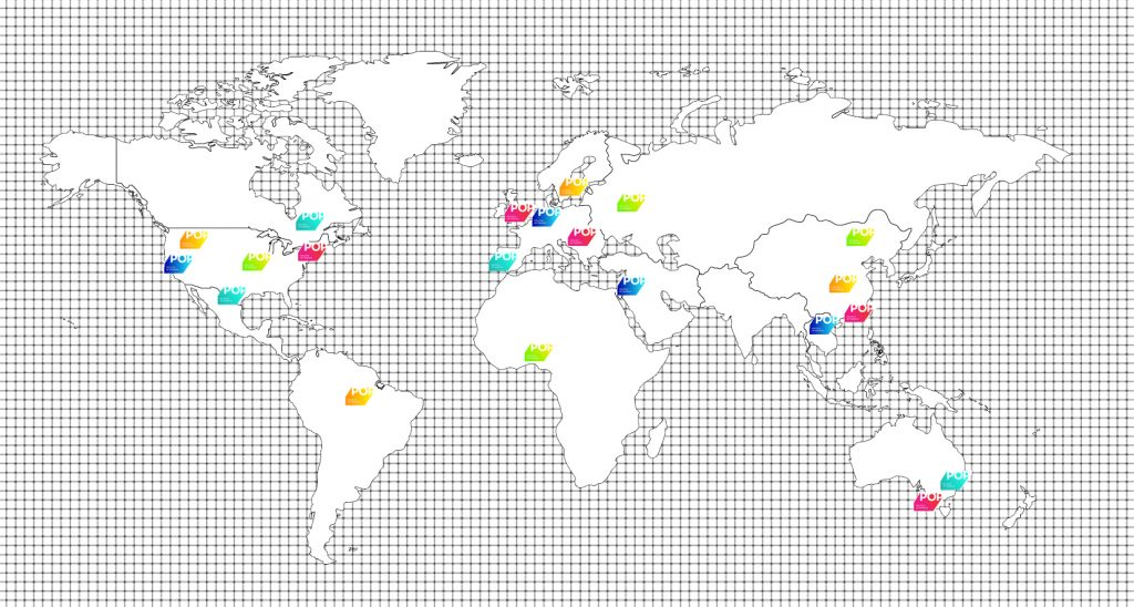 A map of the world with a black and white grid background featuring multicoloured POP logos dotted over different countries.