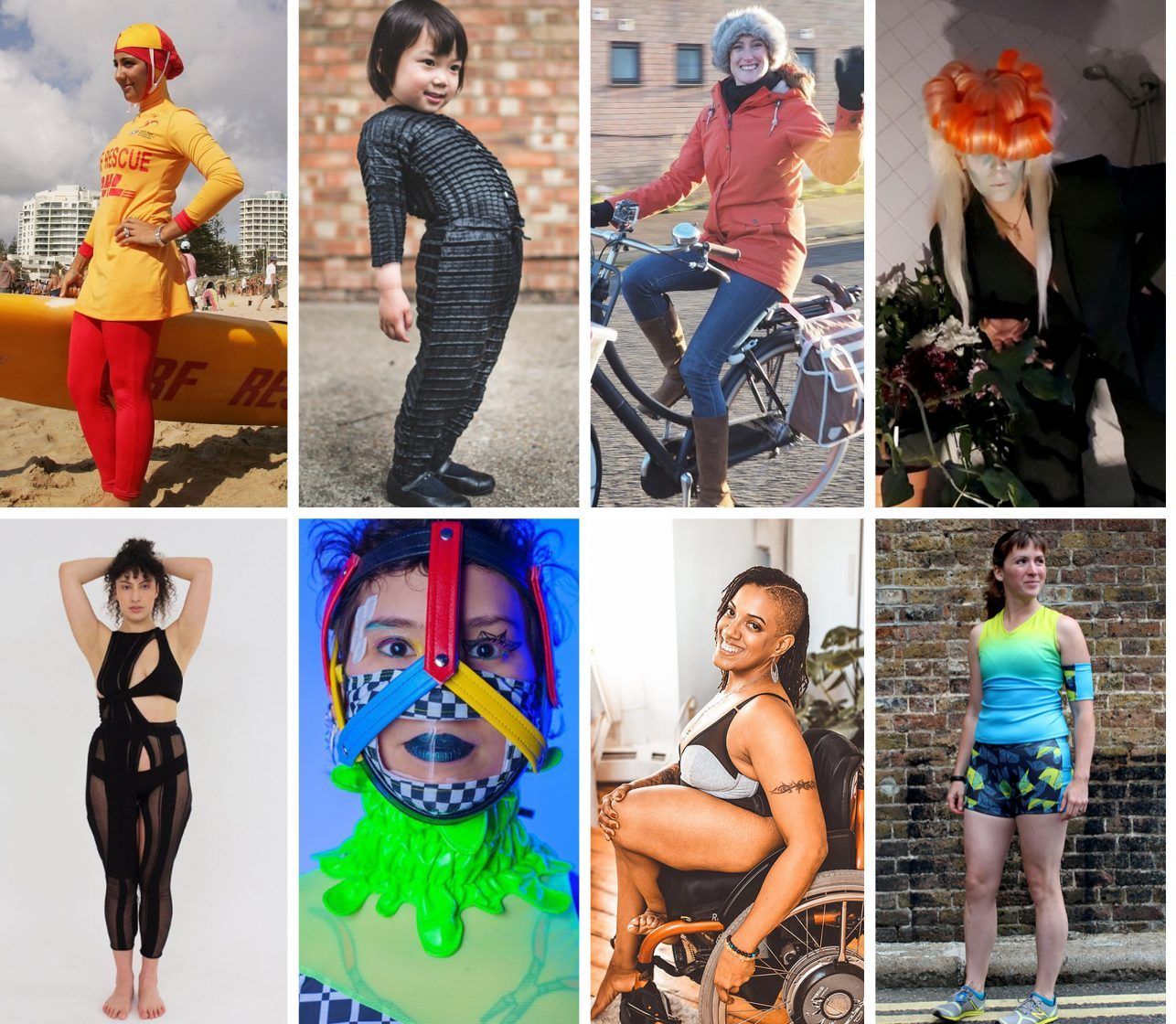 A grid of 8 portrait images featuring different Inventors and Models wearing a mixture of multi-coloured clothing and accessories.